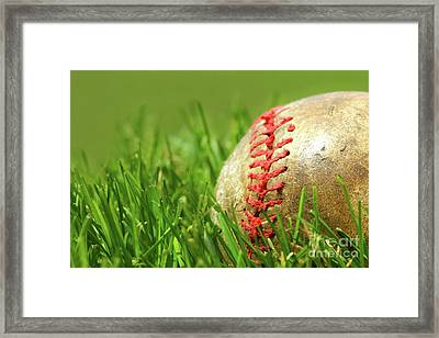 Old Baseball Glove On The Grass Framed Print by Sandra Cunningham