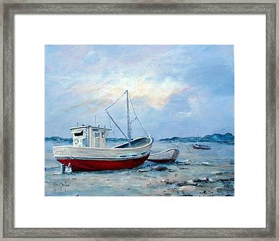 Old Boats On Shore Framed Print by Gary Partin