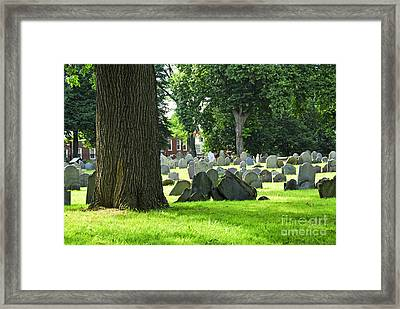 Old Cemetery In Boston Framed Print by Elena Elisseeva