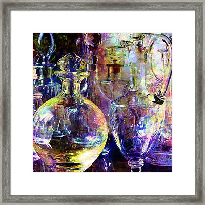 Old Decanters Framed Print by Barbara Berney