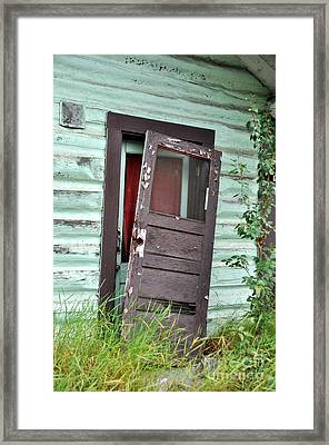 Old Door On Rustic Alaska Cabin Framed Print by Gary Whitton