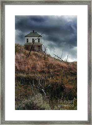 Old Farmhouse With Stormy Sky Framed Print by Jill Battaglia