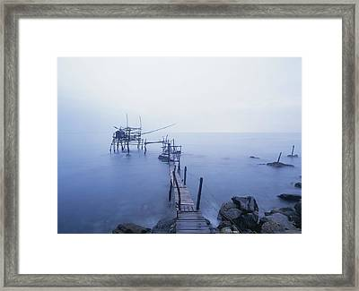 Old Fishing Platform At Dusk Framed Print by Axiom Photographic