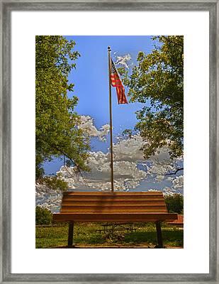 Old Glory Bench Framed Print by Bill Tiepelman