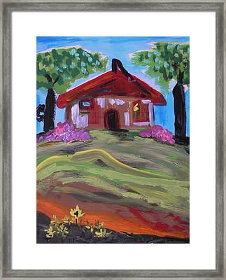 Old House With Two Trees Framed Print by Mary Carol Williams