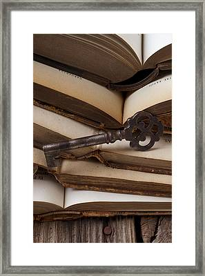 Old Key On Books Framed Print by Garry Gay