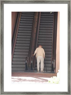 Old Man On The Stairs Framed Print by Rob Hans