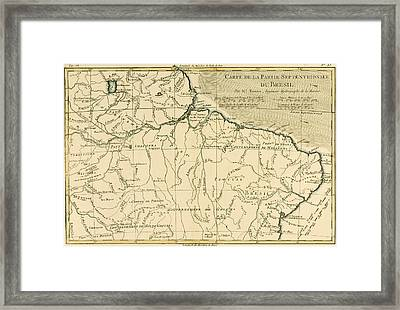 Old Map Of Northern Brazil Framed Print by Guillaume Raynal