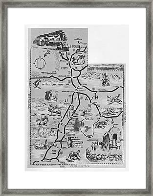 Old Map Of Utah Framed Print by Juls Adams