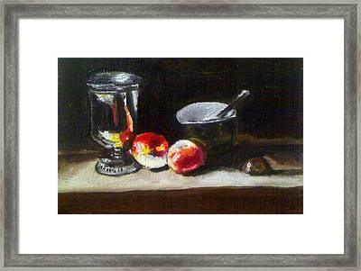 Old Master Still Life Apples And Bowl Framed Print by Dawn marie  Nabong
