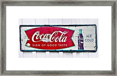 Old Metal Coke Sign Framed Print by Susan Leggett