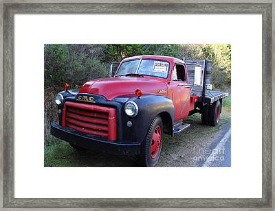 Old Nostalgic American Gmc Flatbed Truck . 7d9821 Framed Print by Wingsdomain Art and Photography