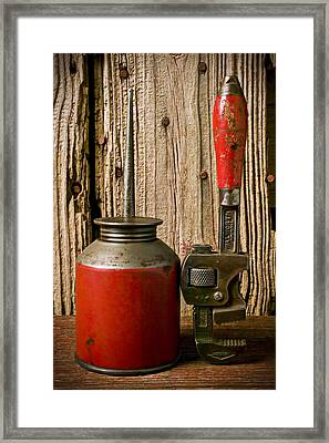 Old Oil Can And Wrench Framed Print by Garry Gay