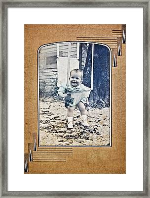 Old Photo Of A Baby Outside Framed Print by Susan Leggett