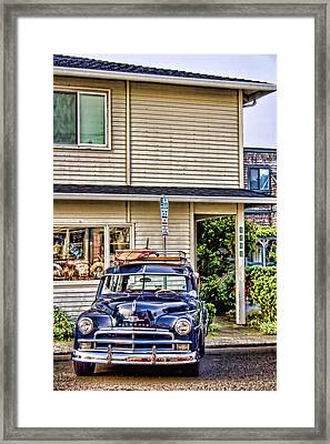 Old Plymouth And Surfboard Framed Print by Carol Leigh