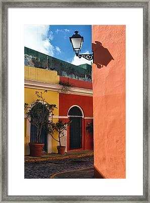 Old San Juan Street Corner Framed Print by George Oze