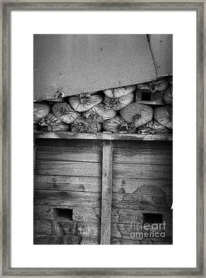 old sandbags and firing positions in restricted area of the UN buffer zone in the green line cyprus Framed Print by Joe Fox