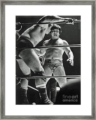 Old School Wrestling Karate Chop On Don Muraco By Dean Ho Framed Print by Jim Fitzpatrick