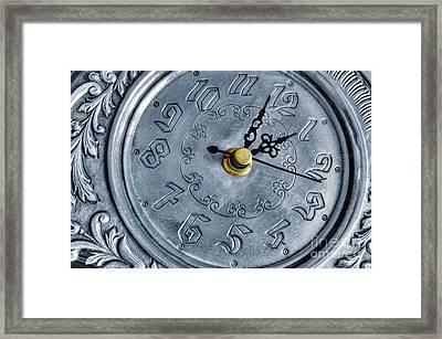Old Silver Clock Framed Print by Carlos Caetano