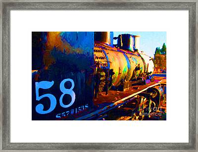 Old Steam Locomotive Engine 1258 . Painterly Framed Print by Wingsdomain Art and Photography