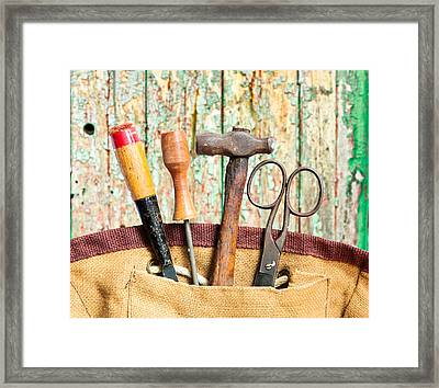 Old Tools Framed Print by Tom Gowanlock