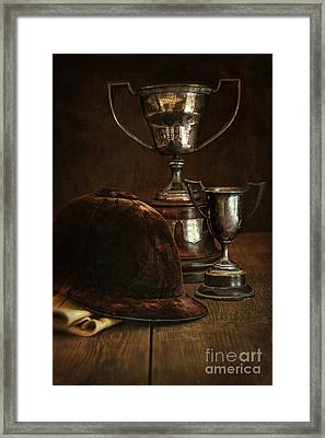 Old Trophies With Equestrian Riding Hat Framed Print by Sandra Cunningham