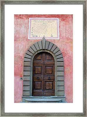 Old Tuscan Villa Door And Sundial Framed Print by Mathew Lodge