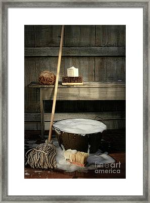 Old Wash Bucket With Mop And Brushes Framed Print by Sandra Cunningham