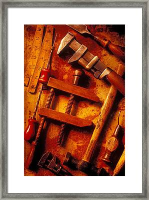 Old Worn Tools Framed Print by Garry Gay