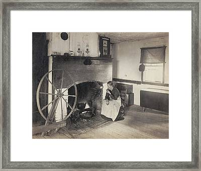 Olden Times. Middle Aged Woman Watching Framed Print by Everett