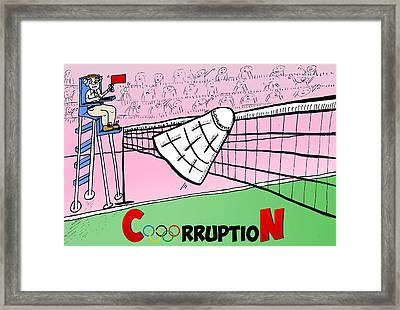 Olympic Corruption Cartoon Framed Print by Yasha Harari