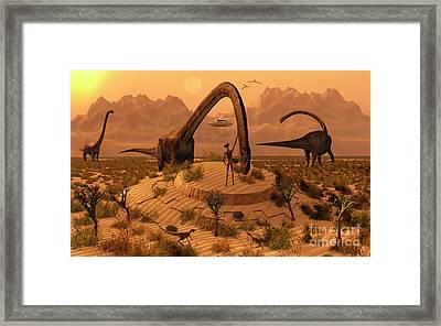Omeisaurus Dinosaurs Communicating Framed Print by Mark Stevenson