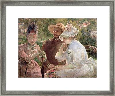 On The Terrace At Sevres Framed Print by Marie Bracquemond