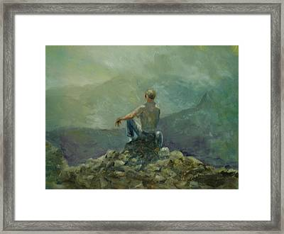 On The Top Of The Rockpile Framed Print by Aline Lotter