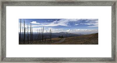 On Top Of The Mountains In Yellowstone National Park Framed Print by Joe Gee