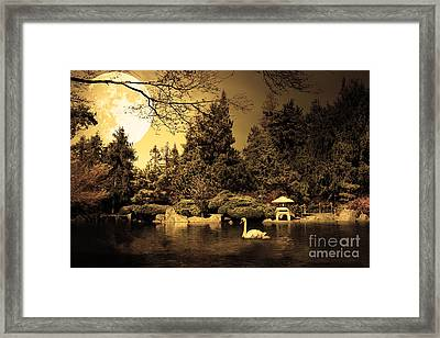 Once Upon A Time Under The Moon Lit Night . Golden Cut . 7d12782 Framed Print by Wingsdomain Art and Photography