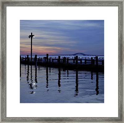 One Light On And The Bridge Beyond Framed Print by Vicki Jauron