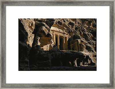 One Of The Many Tombs Carved Framed Print by Annie Griffiths