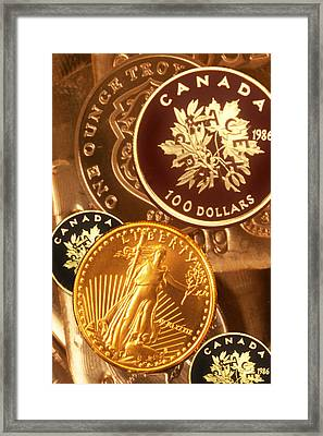 One Troy Ounce Us And Canadian Gold Coins Framed Print by Lyle Leduc