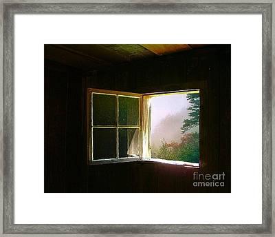 Open Cabin Window In Spring Framed Print by Julie Dant