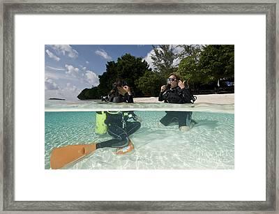 Open Water Student Diver, Mataking Framed Print by Mathieu Meur