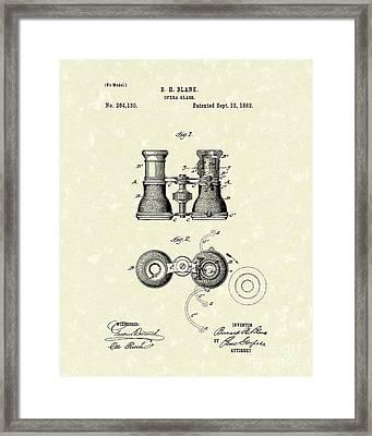 Opera Glass 1882 Patent Art Framed Print by Prior Art Design