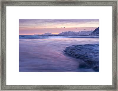 Opposing Waves At Sunset Framed Print by Tim Grams