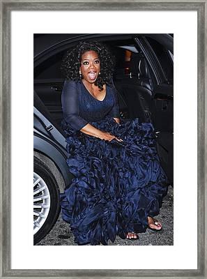 Oprah Winfrey Wearing Navy Silk-organza Framed Print by Everett