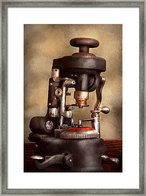 Optometry - Lens Cutting Machine Framed Print by Mike Savad