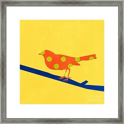 Orange Bird Framed Print by Linda Woods