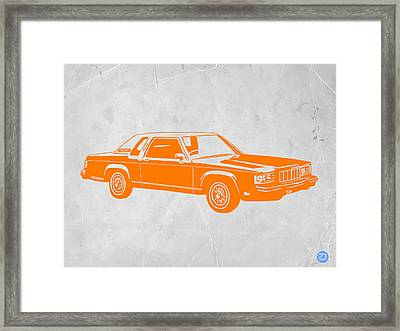 Orange Car Framed Print by Naxart Studio