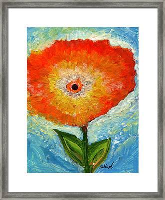 Orange Flower Pop  Framed Print by Ashleigh Dyan Bayer