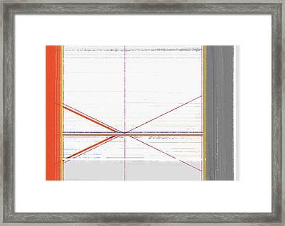 Orange Triangles With Grey Framed Print by Naxart Studio