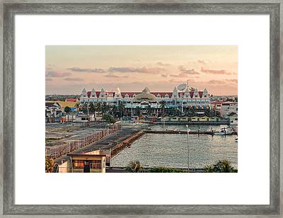 Oranjestad Small Boat Harbor Framed Print by Linda Phelps